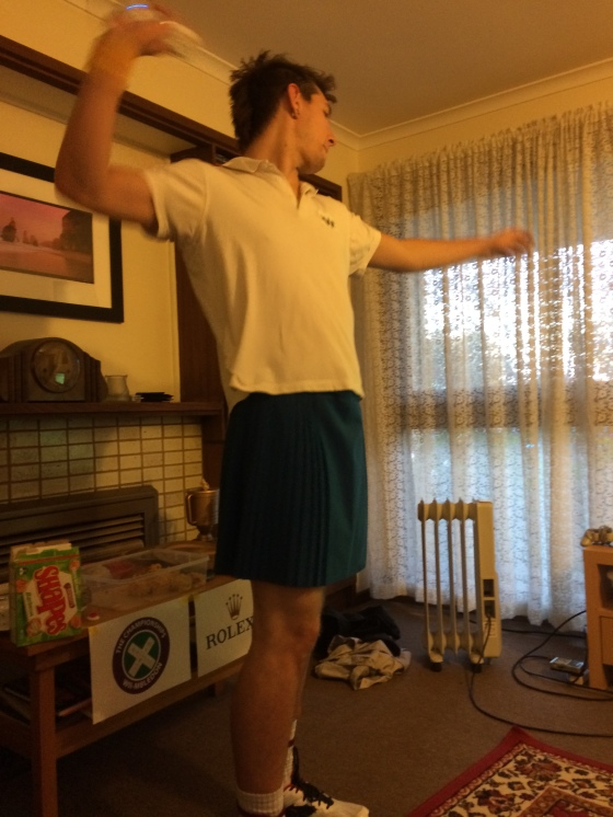 Day 167: Wiimbledon (Wii tennis tourament), and yes that is Matty in a netball skirt
